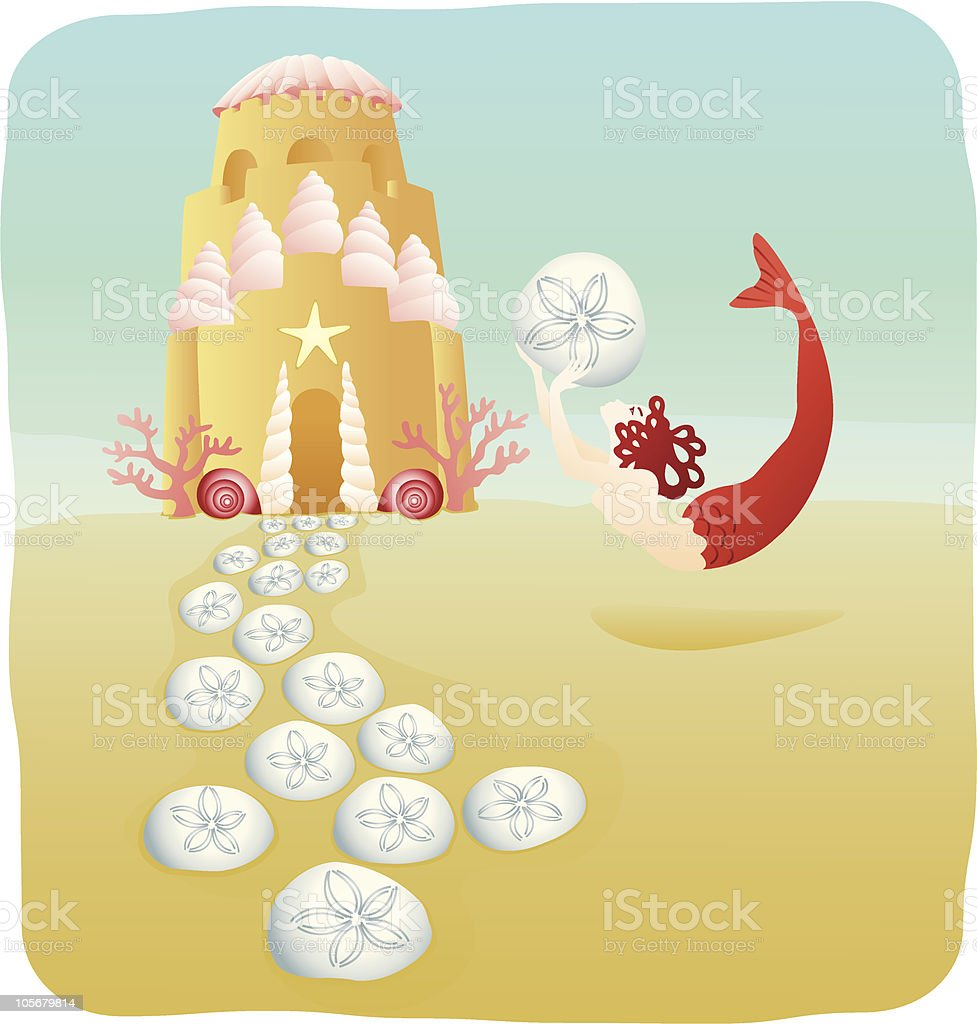 Mermaid with sand castle under the sea vector art illustration