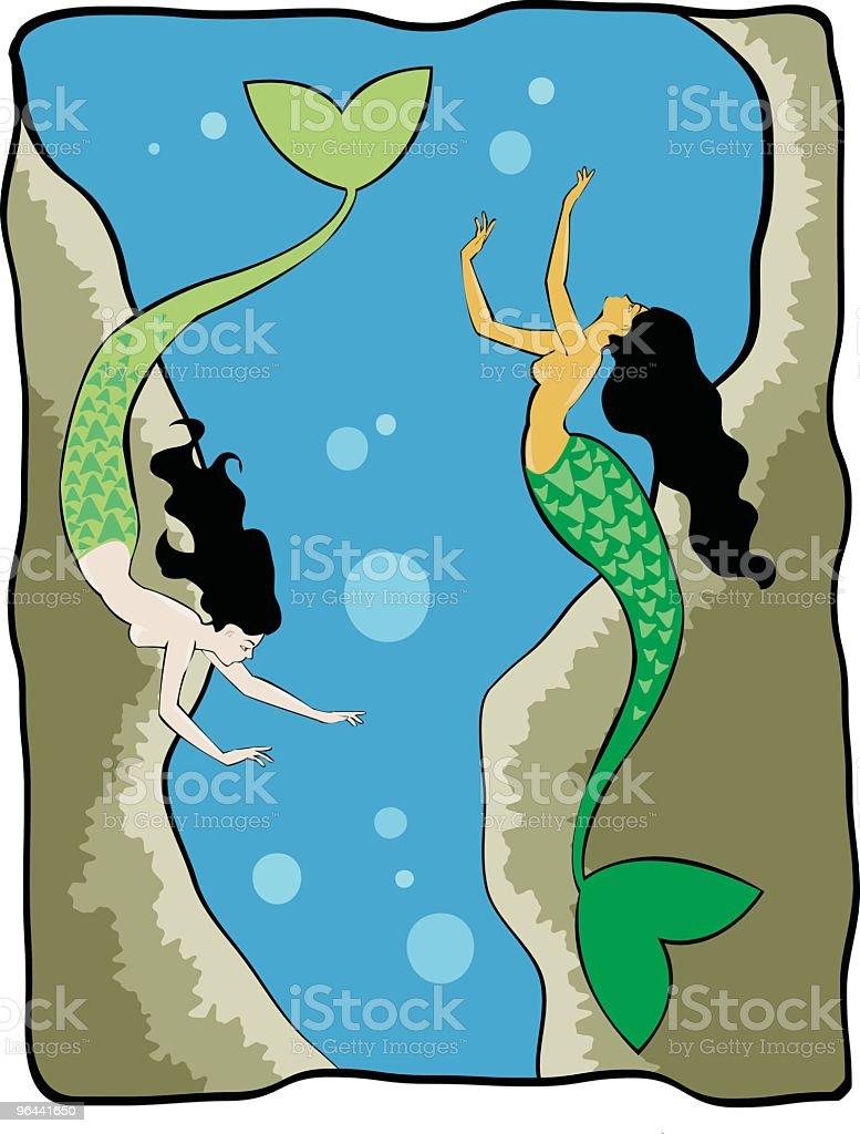 Mermaids at Play royalty-free stock vector art