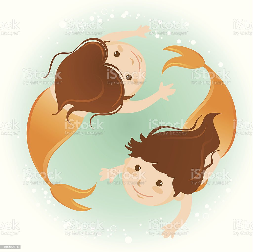mermaids vector art illustration