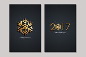 Merry Christmas and 2017 Happy New Year greeting cards.
