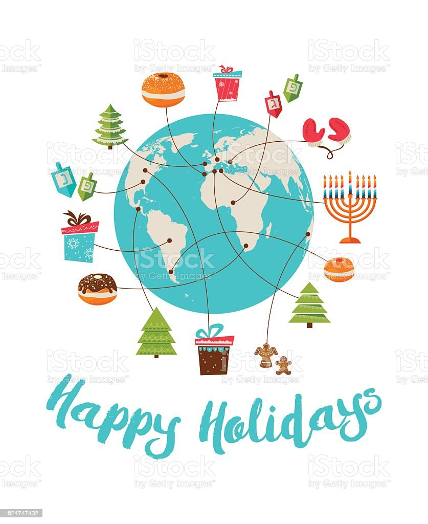 merry christmas and happy hanukkah. global celebration vector art illustration