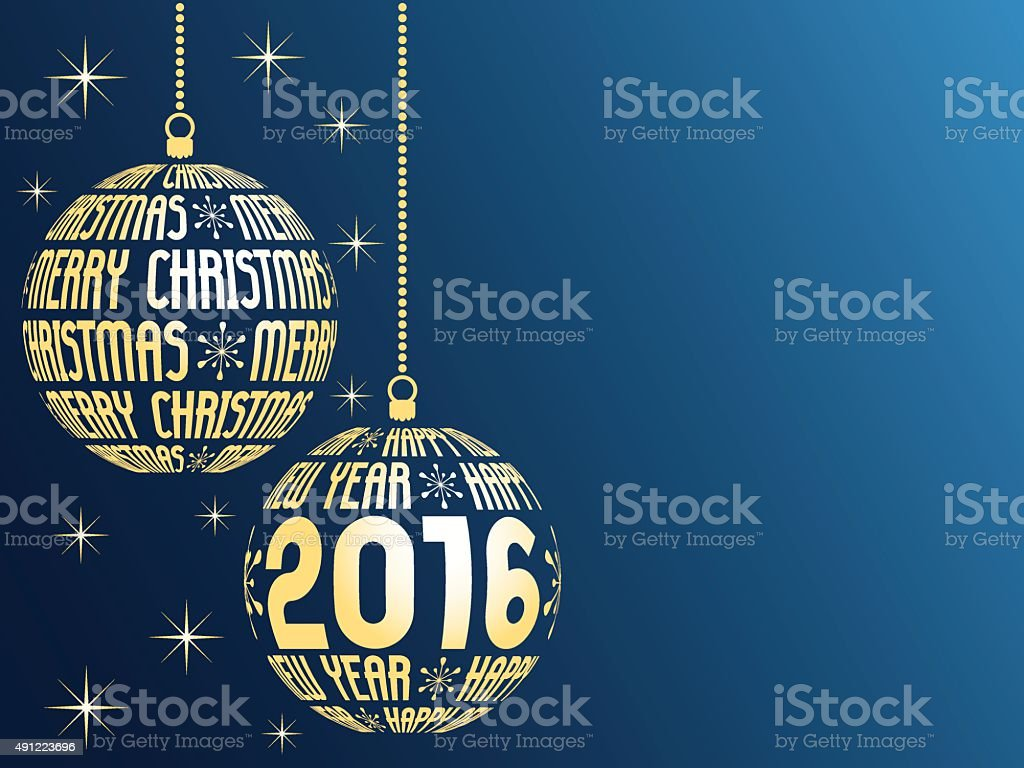 merry christmas and happy new year 2016 vector art illustration