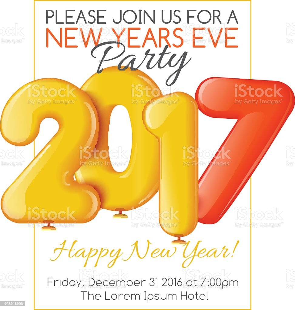 Merry Christmas And Happy New Year 2017 Party Invitation Template – New Year Invitation Template