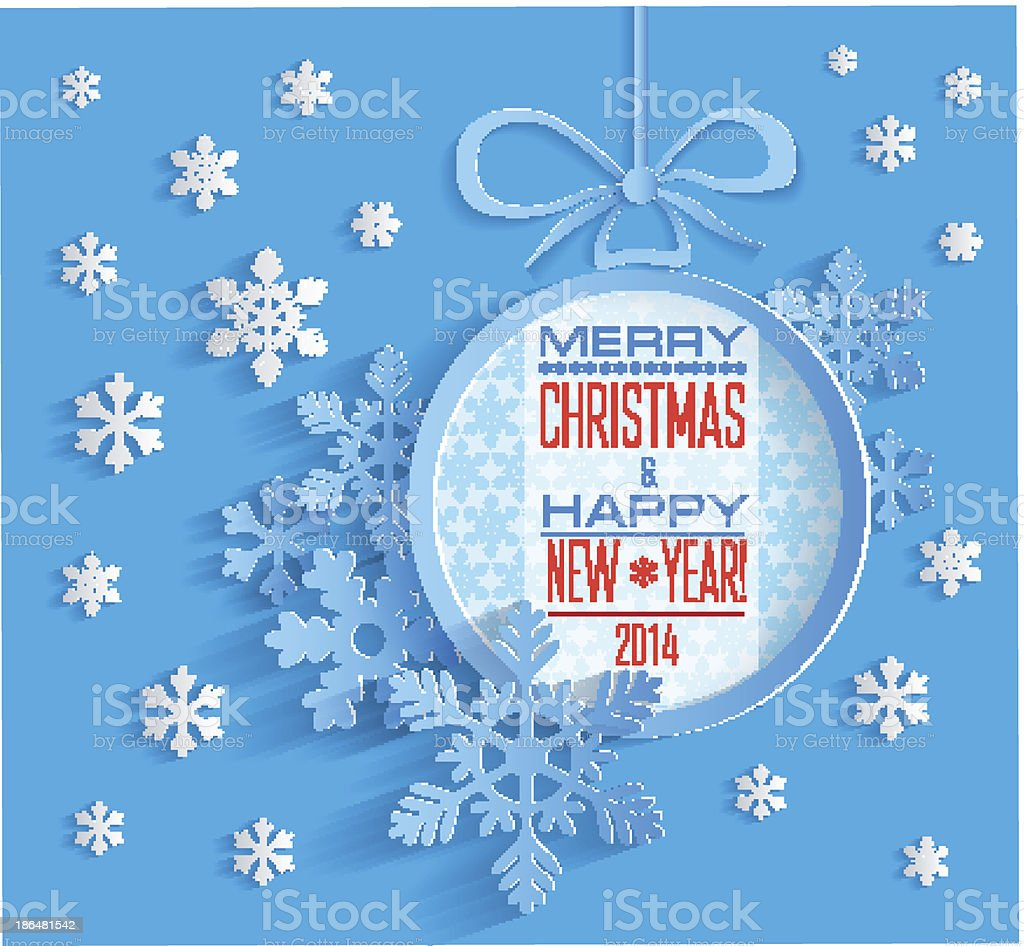 Merry Christmas and Happy New Year Card royalty-free stock vector art