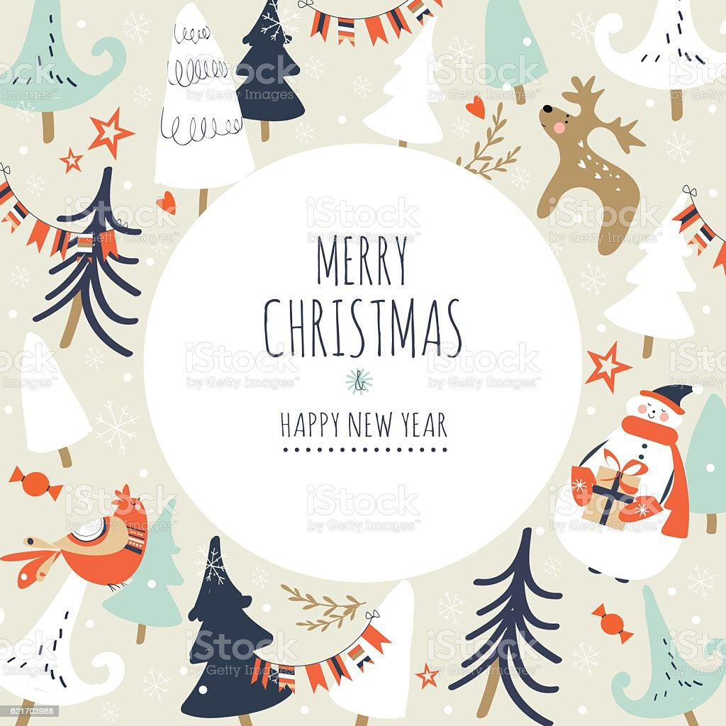 Merry Christmas And Happy New Year Card stock vector art 621703988 ...