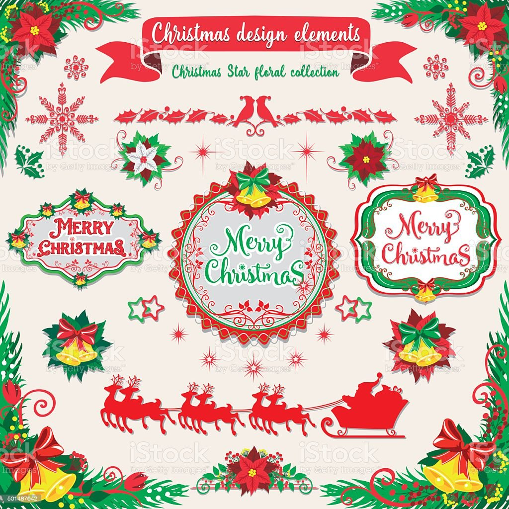 Merry Christmas and Happy New Year design elements set vector art illustration