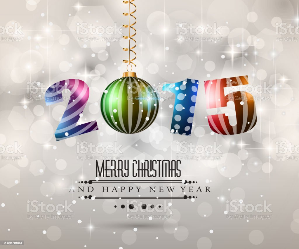 2015 Merry Christmas And Happy New Year Flyer stock vector art ...
