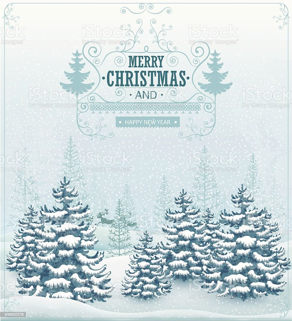 Merry Christmas and Happy New Year forest winter landscape vector art illustration