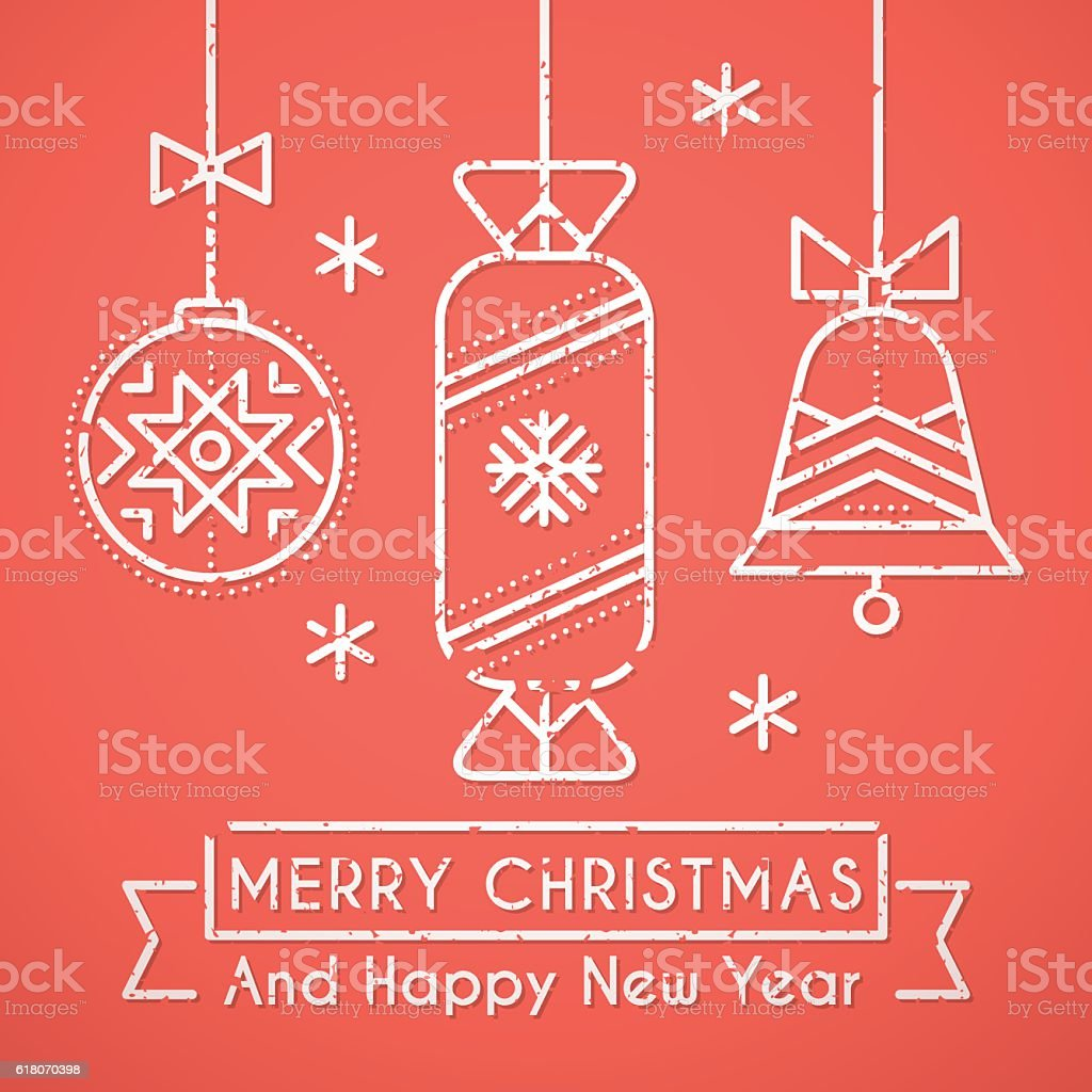 Merry Christmas And Happy New Year Greeting Card Template stock – New Year Greeting Card Template