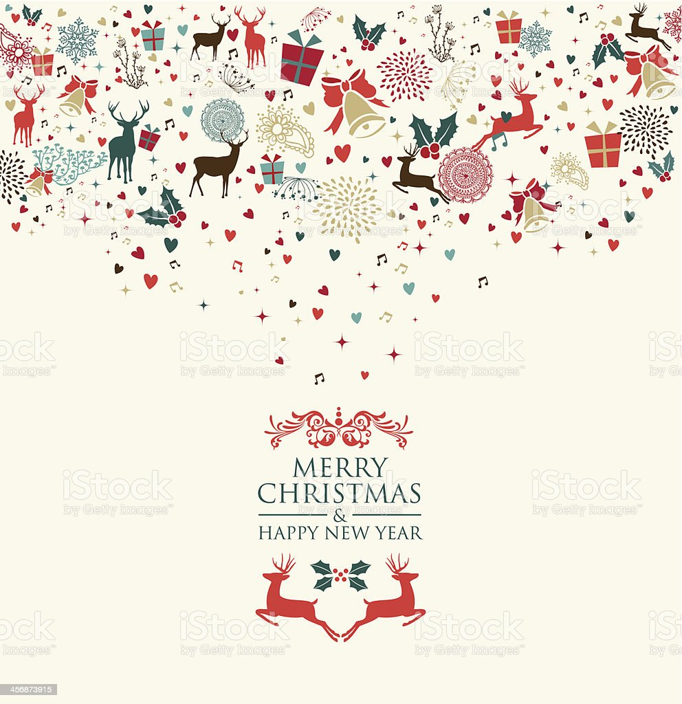 Merry Christmas and Happy New Year greeting card royalty-free stock vector art
