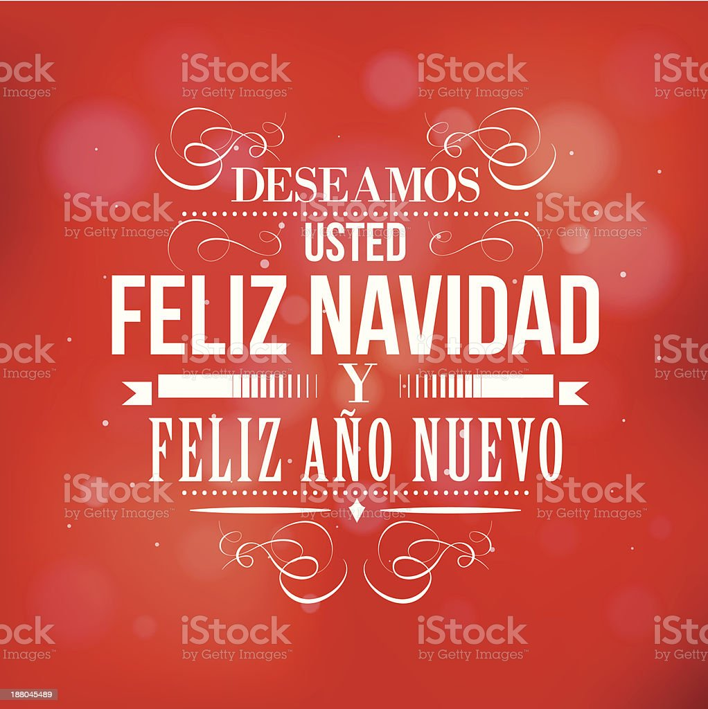 Merry Christmas and Happy New year in Spanish royalty-free stock vector art