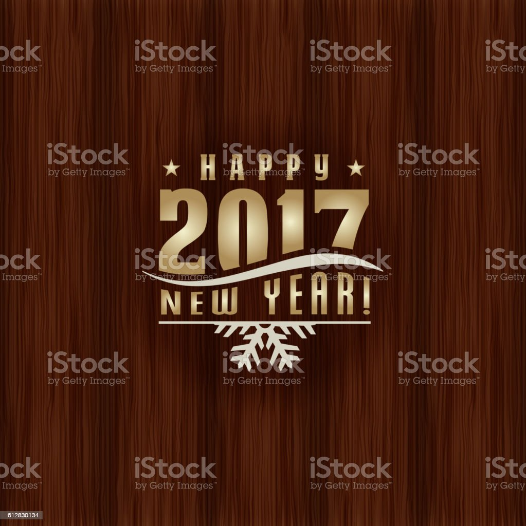 Merry Christmas and Happy New Year label on wooden texture vector art illustration