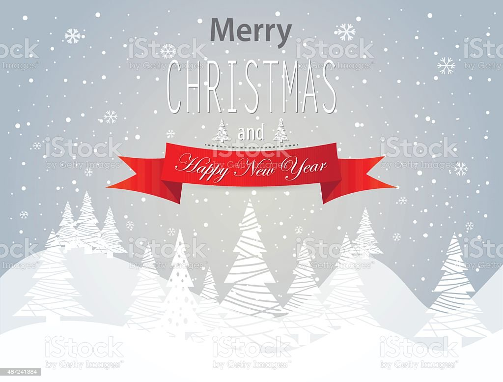 Merry Christmas and Happy New Year landscape vector art illustration