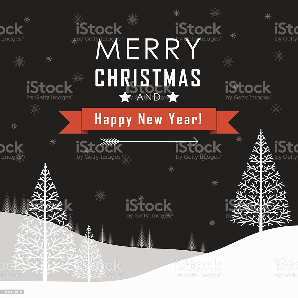 Merry Christmas and Happy New Year Landscape. vector art illustration