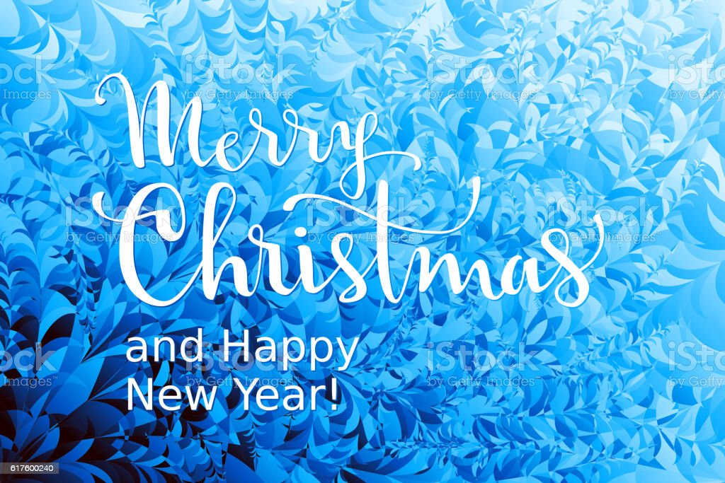 Merry Christmas and Happy New Year! Lettering on ice background vector art illustration
