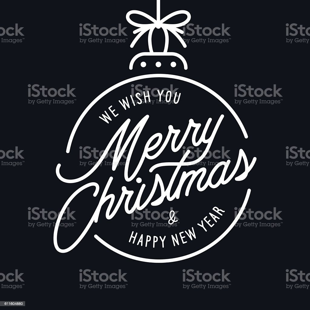 Merry Christmas and Happy New Year lettering template. Monochrome greeting vector art illustration