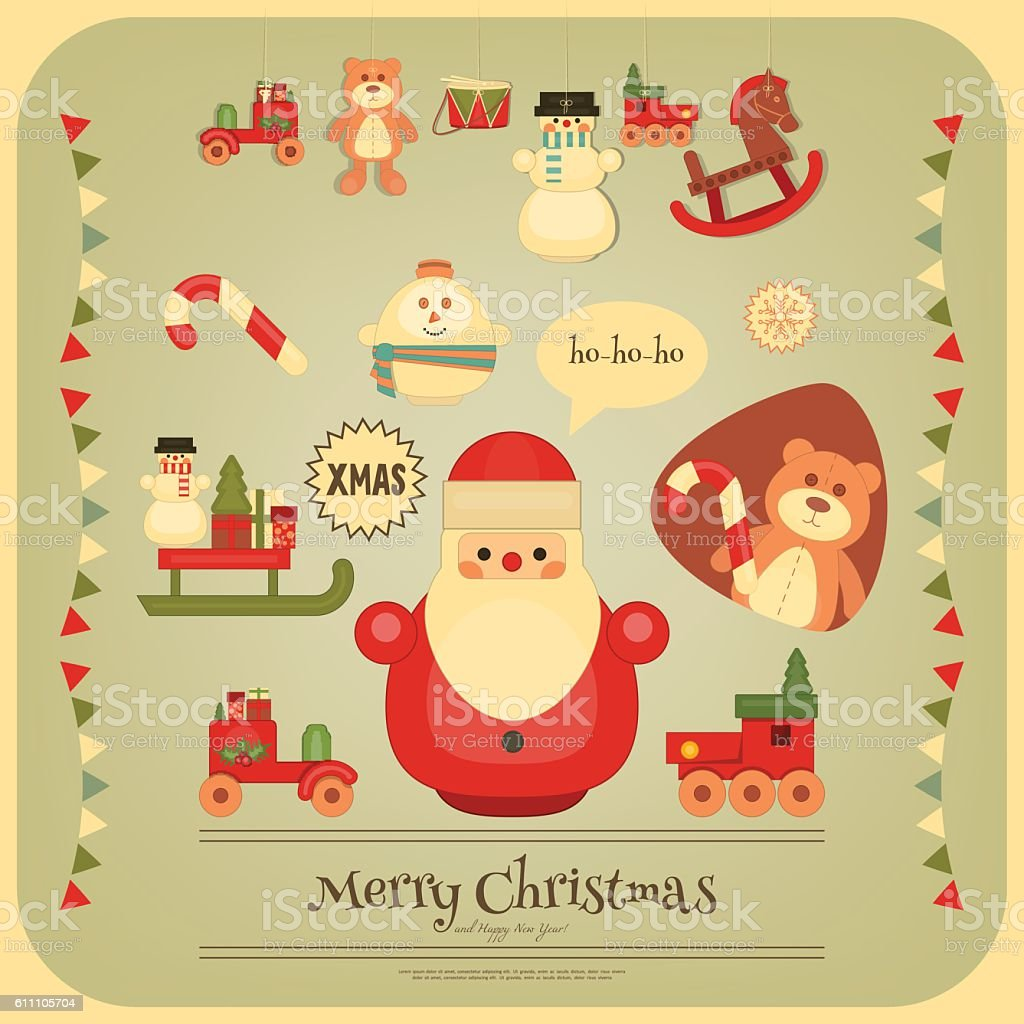 Merry Christmas and Happy New Year Poster vector art illustration