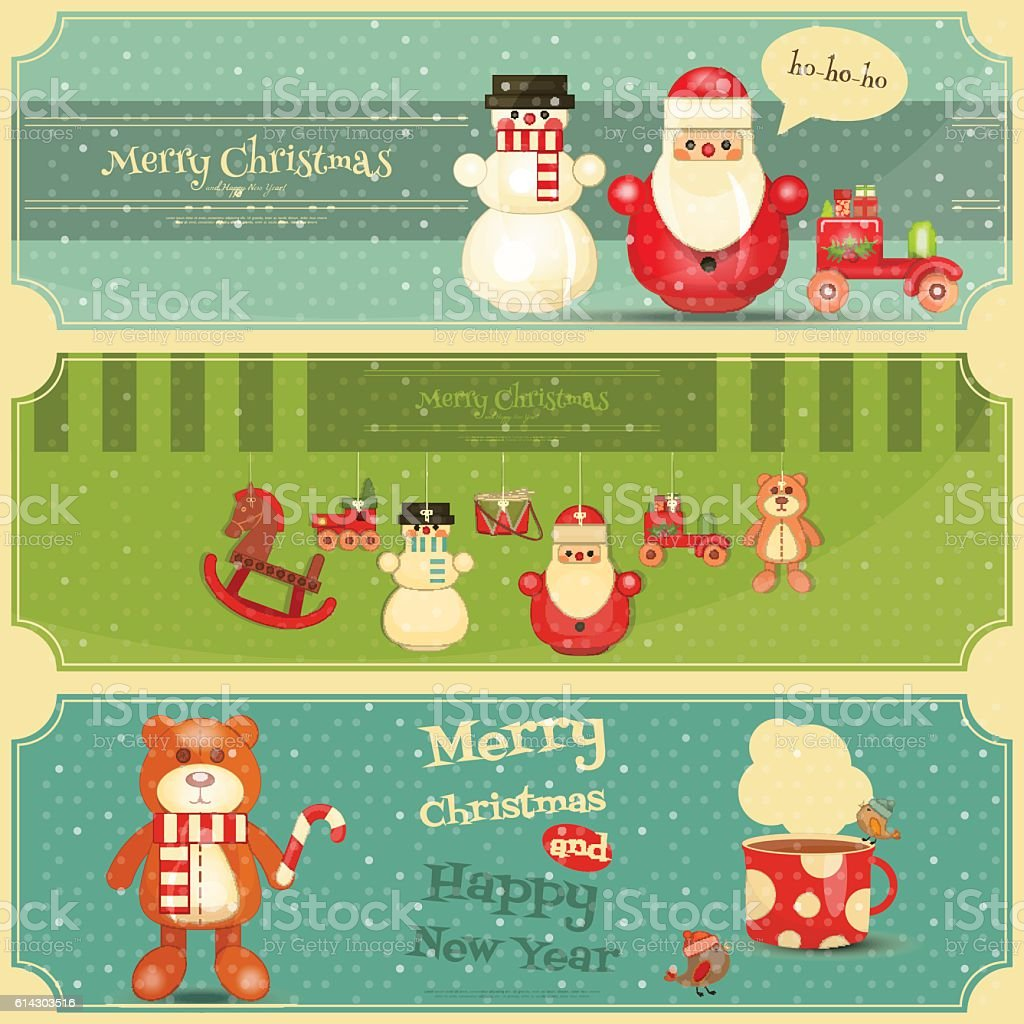 Merry Christmas and Happy New Year Posters Set vector art illustration