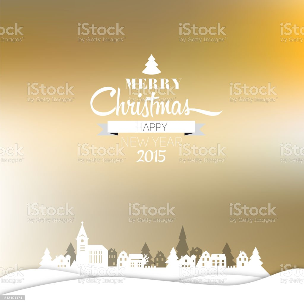 Merry Christmas and happy new year retro greeting card vector art illustration