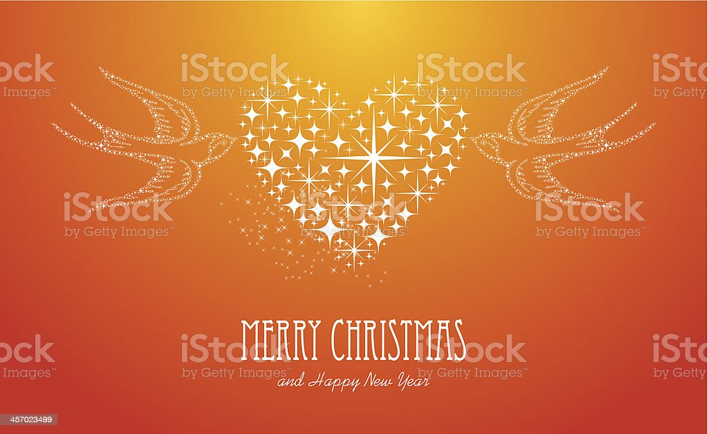 Merry Christmas and Happy New Year stars greeting card vector art illustration