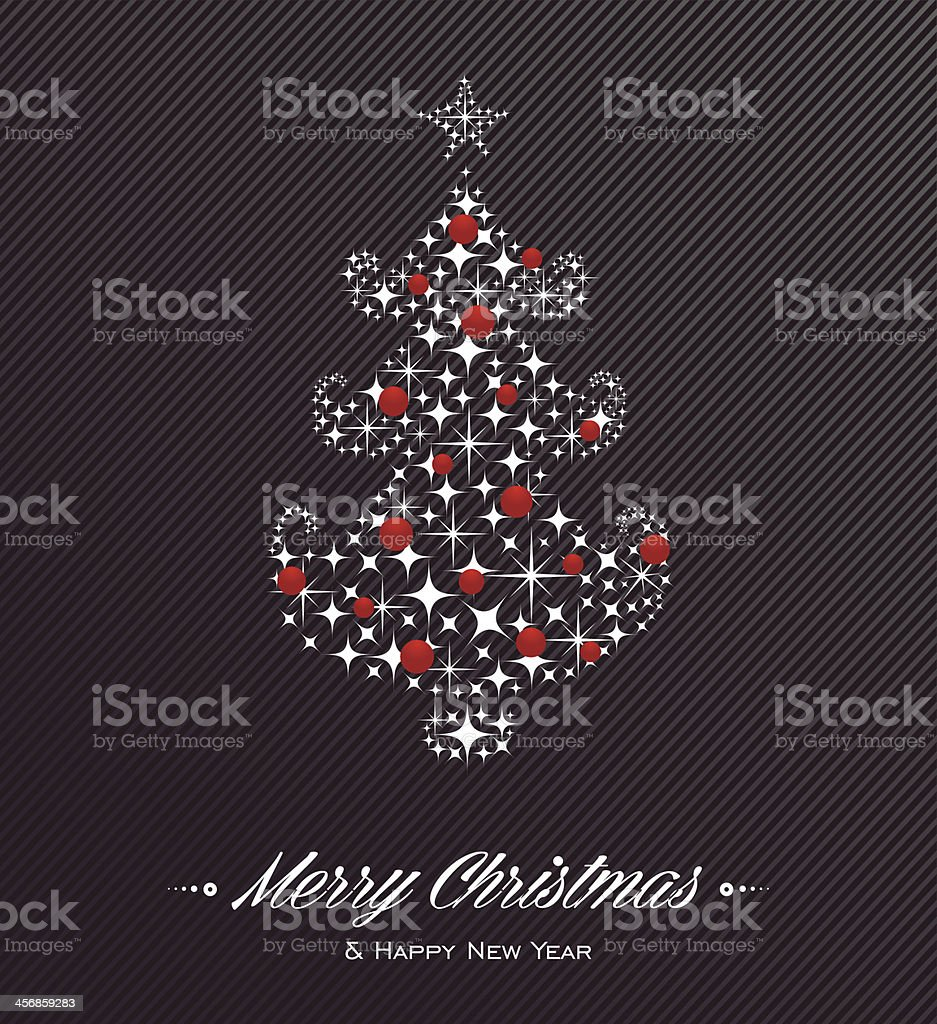 Merry Christmas and Happy New Year tree stars card royalty-free stock vector art