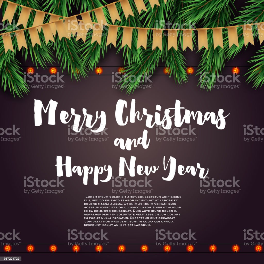 Merry Christmas and Happy New Year. vector art illustration