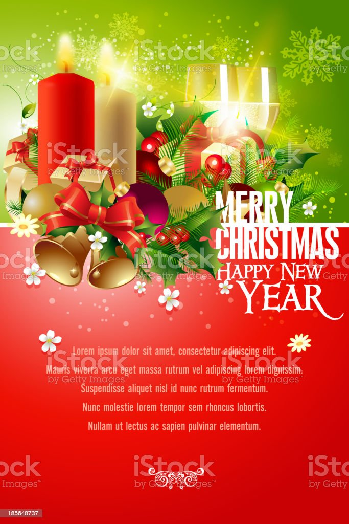Merry Christmas and New Year Background vector art illustration
