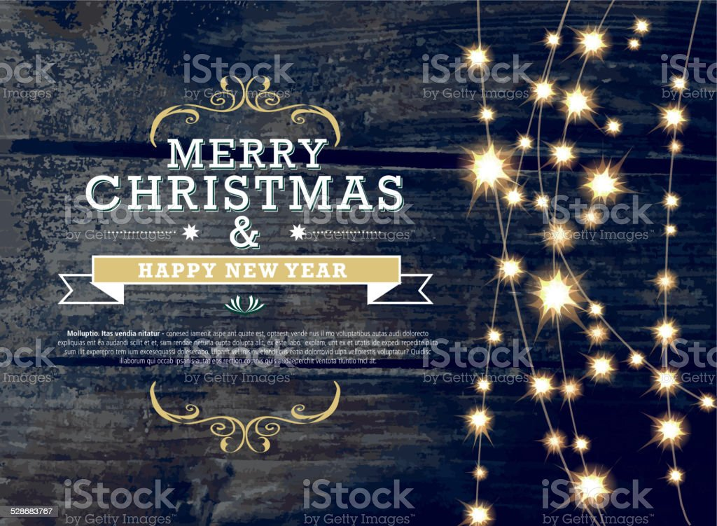 Merry Christmas and New Year invitation template with string lights vector art illustration