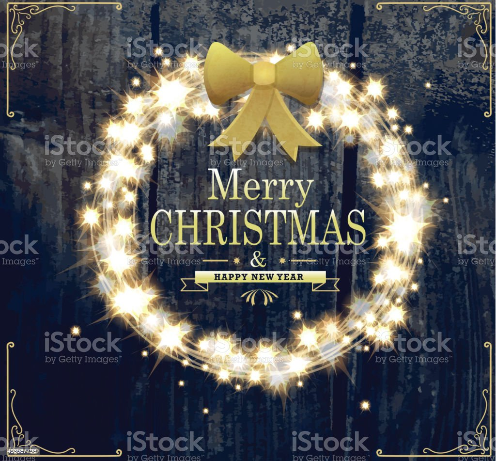 Merry Christmas and New Year sparkling wreath design template vector art illustration