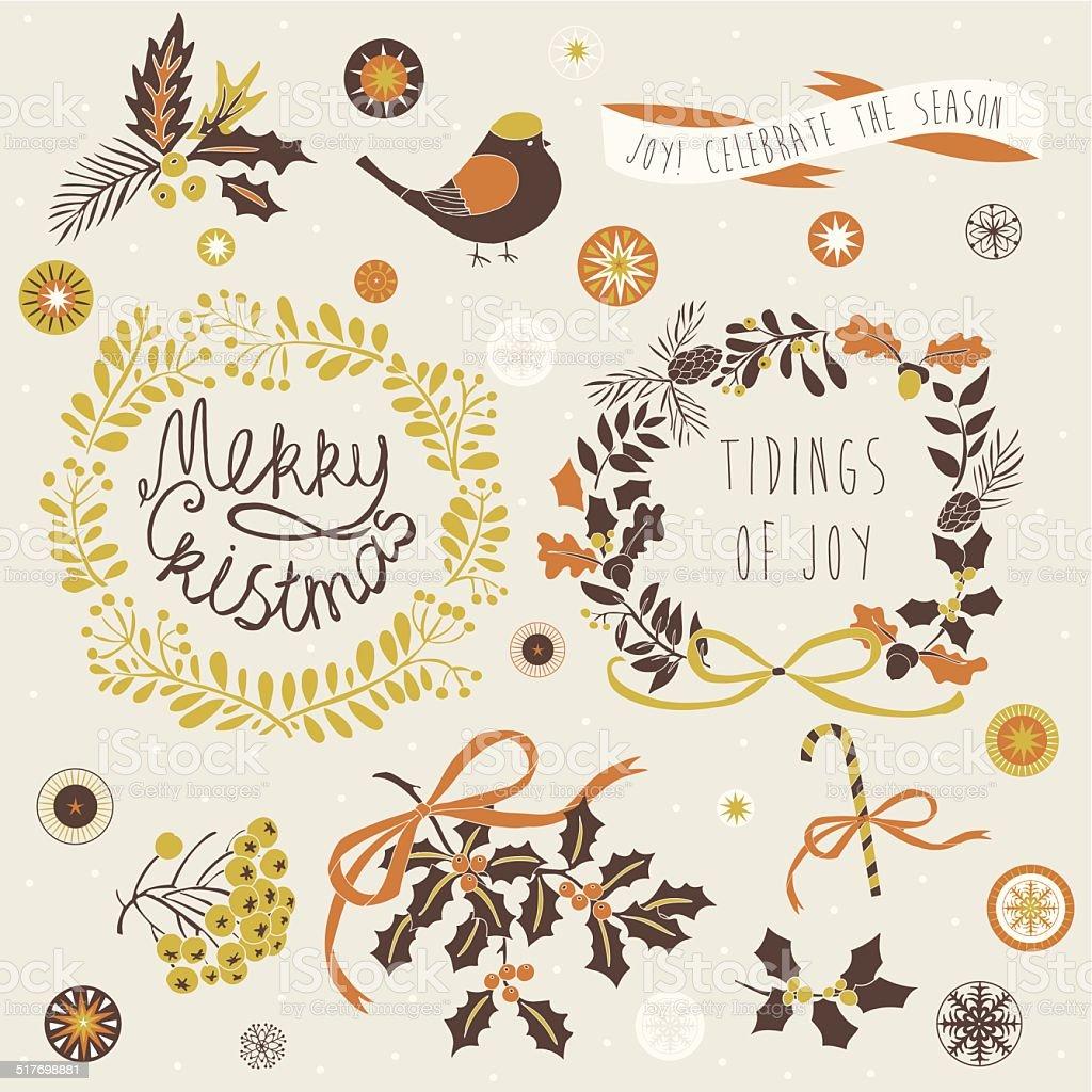 Merry Christmas and Tidings of Joy vector art illustration