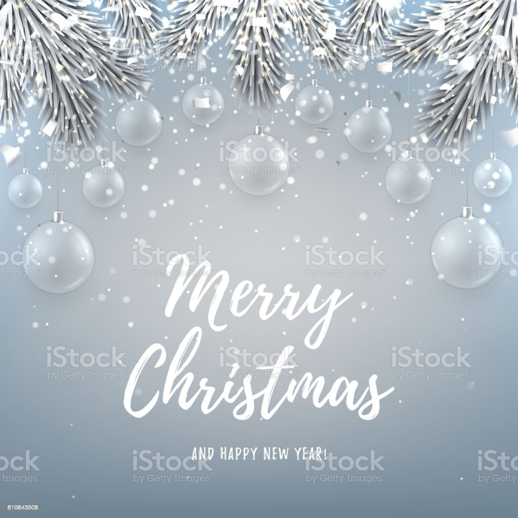 Merry Christmas backdrop with glass toys royalty-free stock vector art