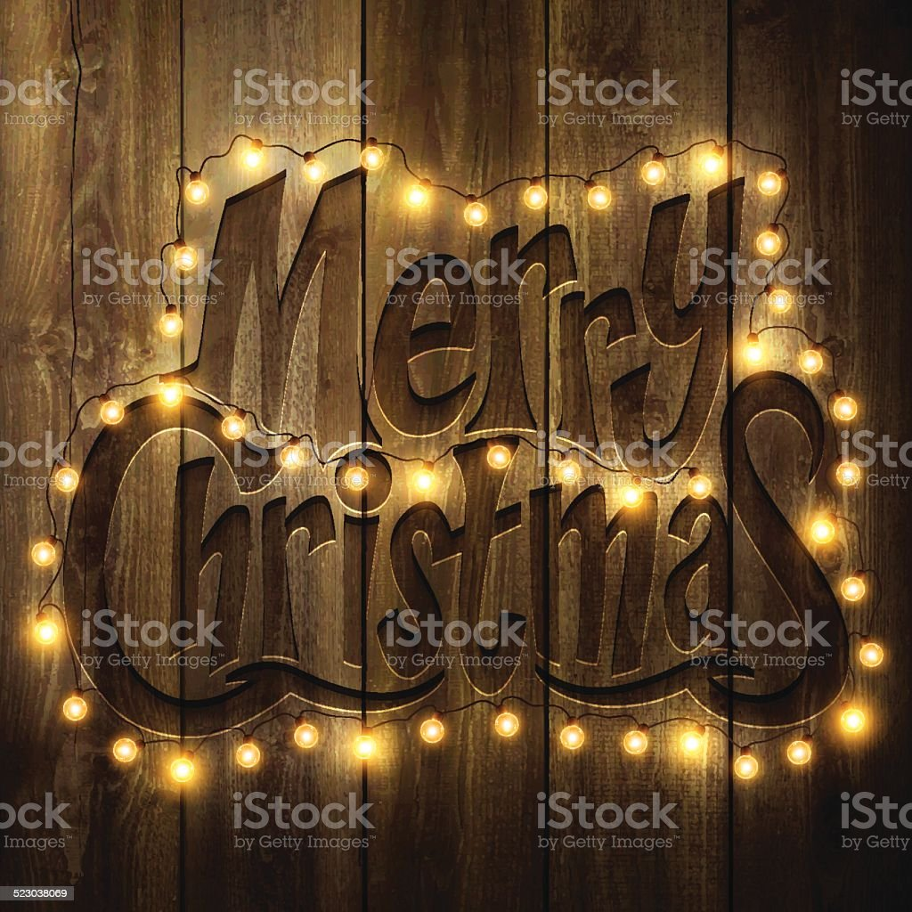Merry Christmas Background with Christmas lights on wooden Wall vector art illustration