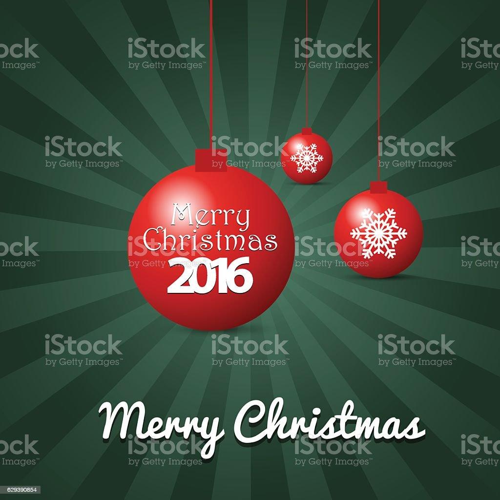 Merry Christmas balls on forest green rays background vector art illustration