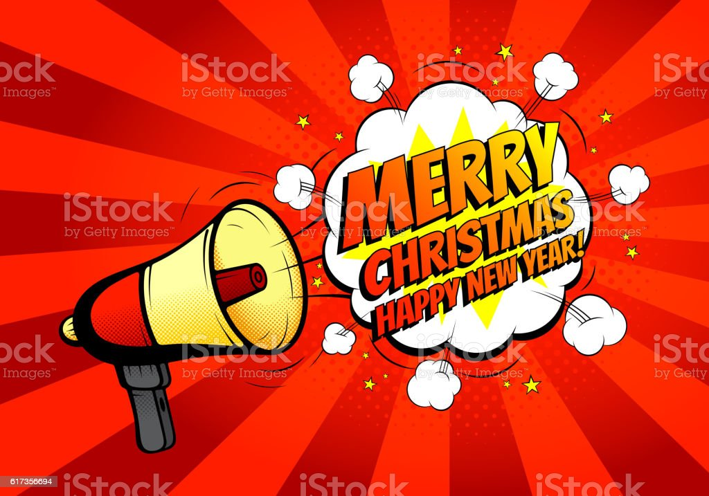 Merry Christmas banner with loudspeaker or megaphone royalty-free stock vector art