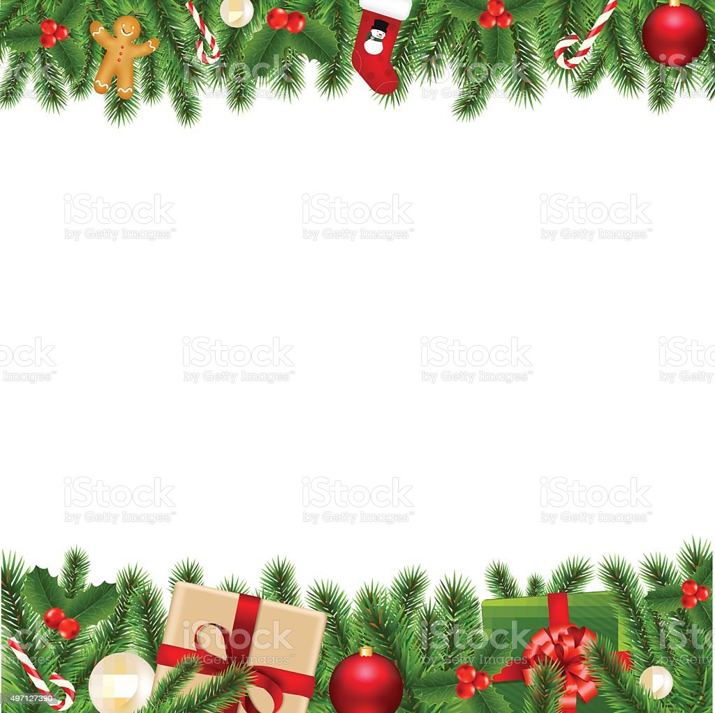 Merry Christmas Borders vector art illustration