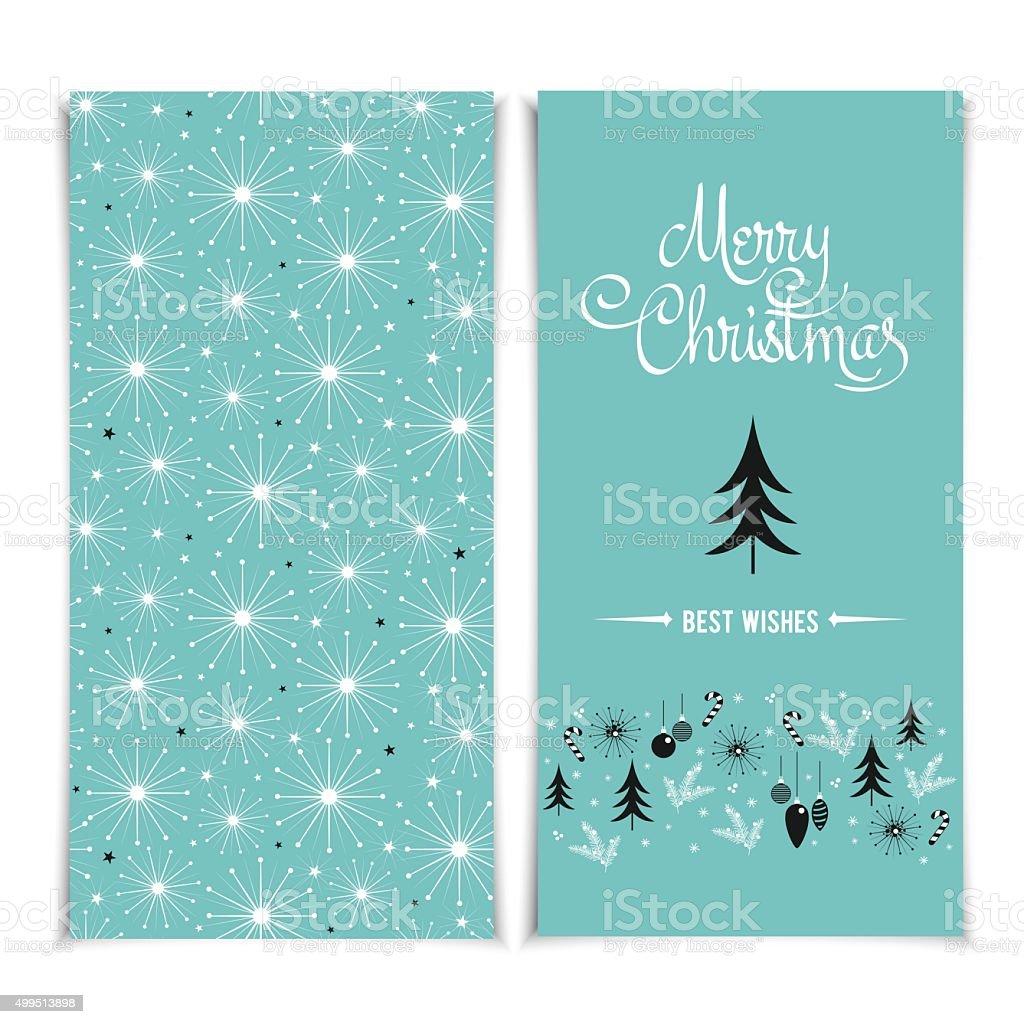 Merry Christmas card template. Christmas blue Posters set vector illustration. vector art illustration
