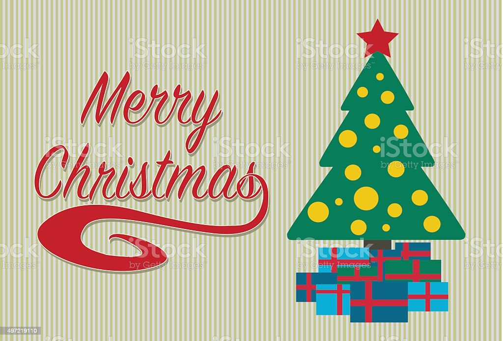 Merry christmas card with a tree and gifts. royalty-free stock vector art
