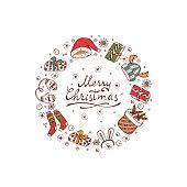 Merry Christmas card with celebratory items. Holiday frame. Christmas wreath