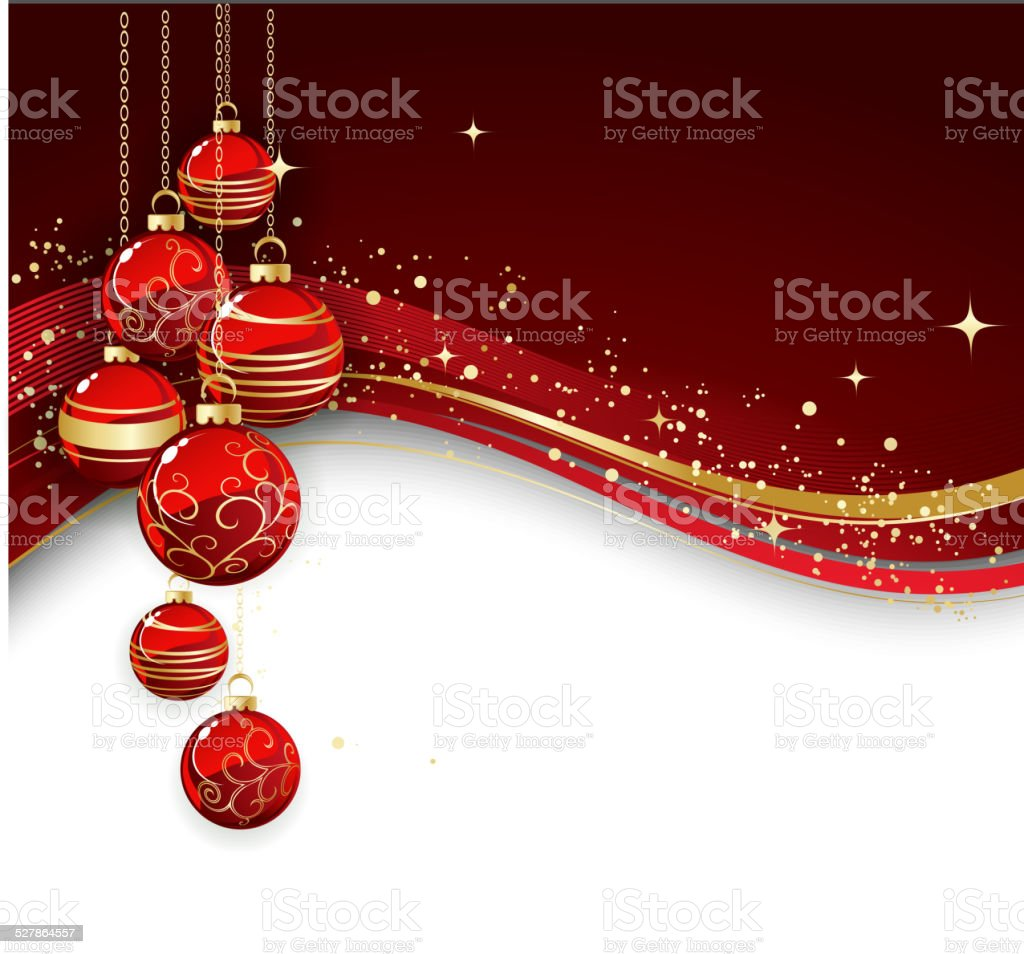 Merry Christmas Card With Red Bauble Stock Vector Art 527864557 Istock