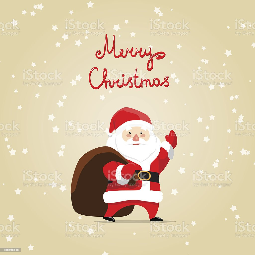 Merry christmas card with santa claus and bag royalty-free stock vector art