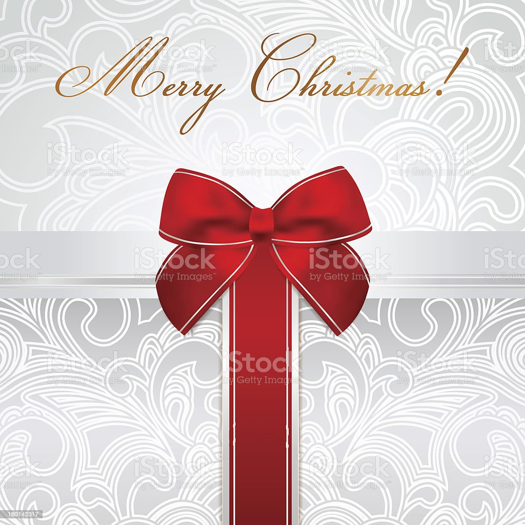 Merry Christmas card with scroll pattern gift box, red bow royalty-free stock vector art