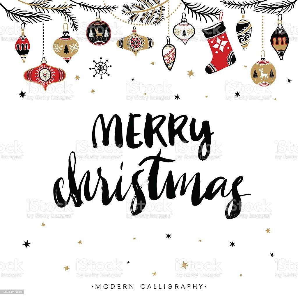 Merry christmas calligraphy stock vector art