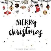 Merry Christmas. Christmas calligraphy.
