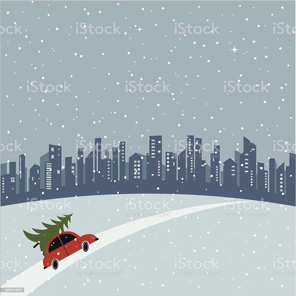 Merry Christmas City royalty-free stock vector art