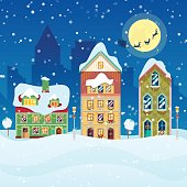 Merry Christmas Cityscape with Snowfall and Houses