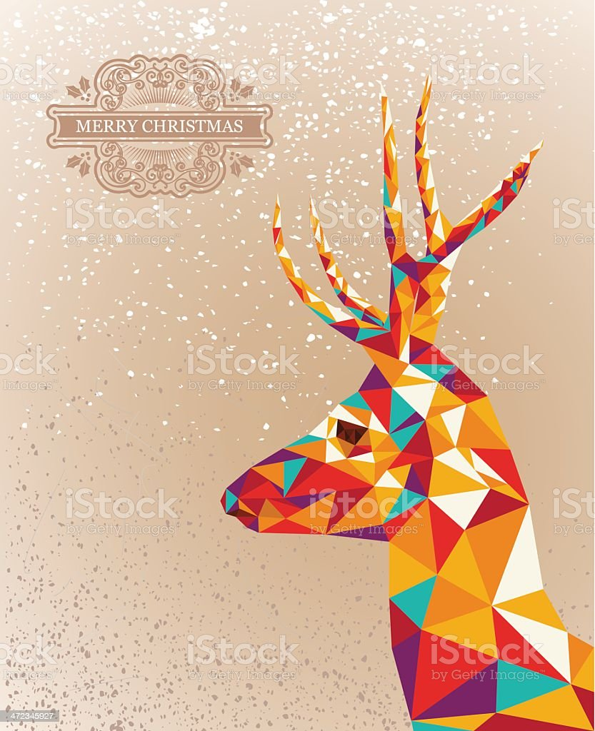 Merry Christmas colorful abstract reindeer royalty-free stock vector art