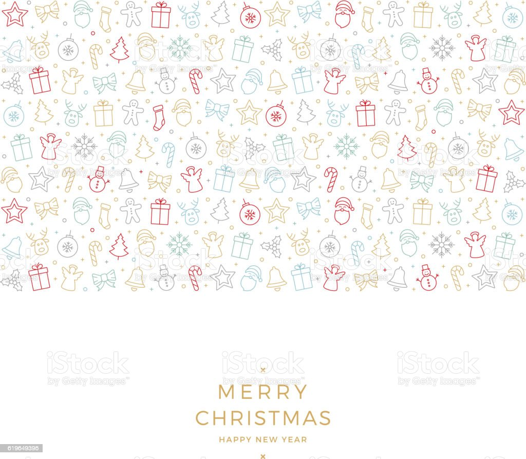 merry christmas colorful icon elements white background vector art illustration
