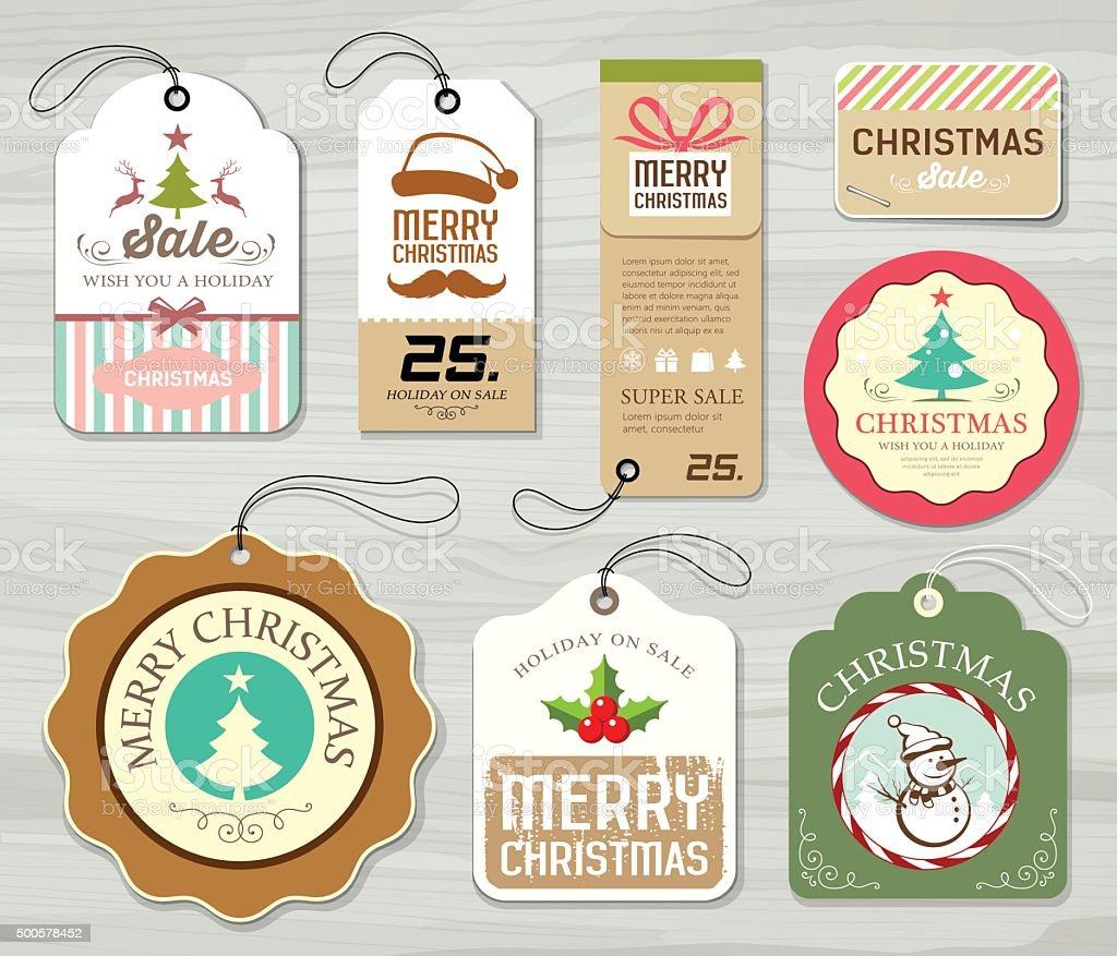 Merry christmas colorful label paper collections vector art illustration