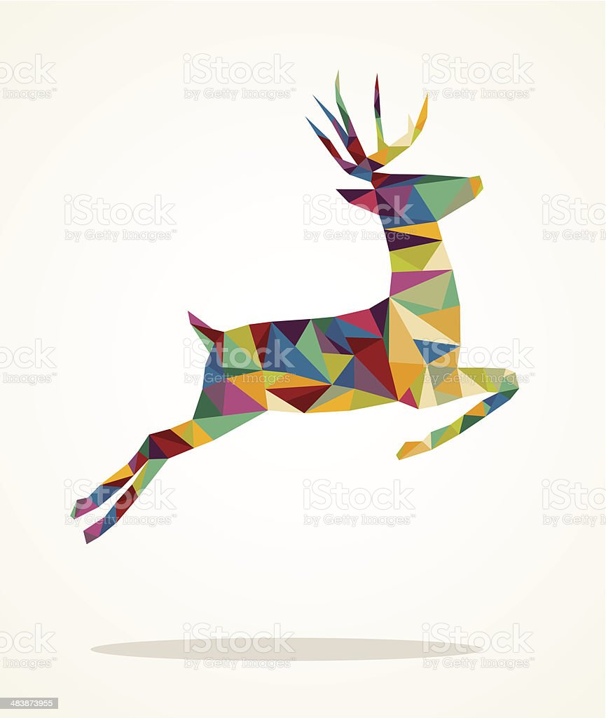 Merry Christmas contemporary triangle reindeer greeting card vector art illustration
