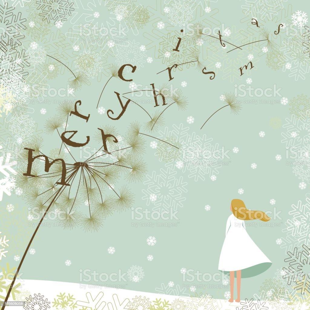 Merry christmas dandelion royalty-free stock vector art